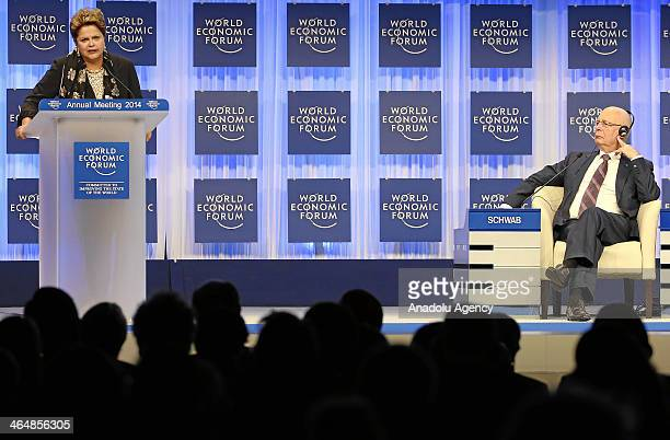 Dilma Rousseff President of Brazil addresses Klaus Schwab Founder and Executive Chairman World Economic Forum and the audience during Annual Meeting...
