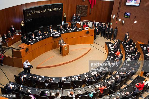 Dilma Rousseff President of Brazil gives a speech at Senate of the Republic during Rousseff's first official visit to Mexico on May 27 2015 in Mexico...