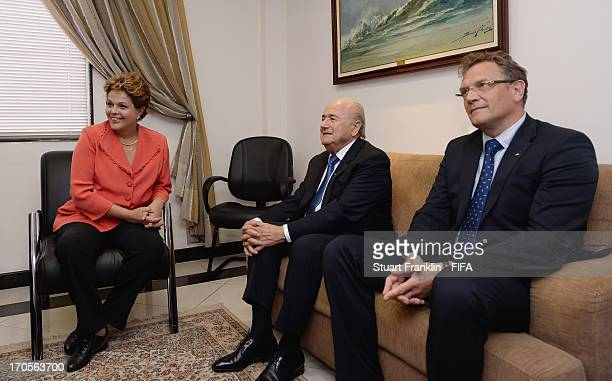 Dilma Rousseff President of Brazil meets with FIFA President Joseph S Blatter and FIFA Secretary General Jerome Valcke on June 14 2013 in Rio de...