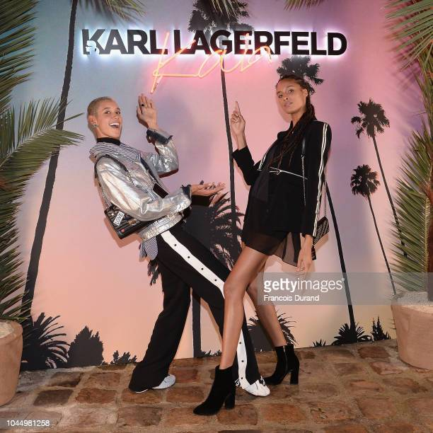 Dilone and Cindy Bruna celebrate the launch of the Karl x Kaia collaboration capsule collection on October 2 2018 in Paris France