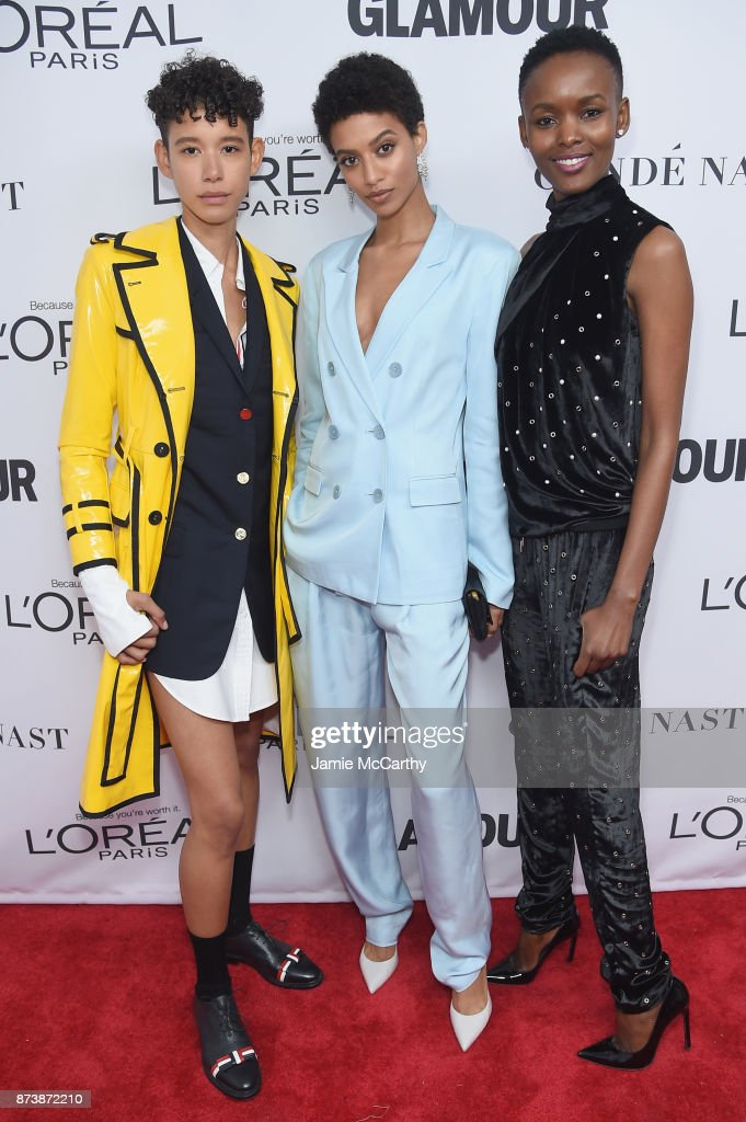 Dilone (L) and Jourdana Phillips (Center) attend Glamour's 2017 Women of The Year Awards at Kings Theatre on November 13, 2017 in Brooklyn, New York.