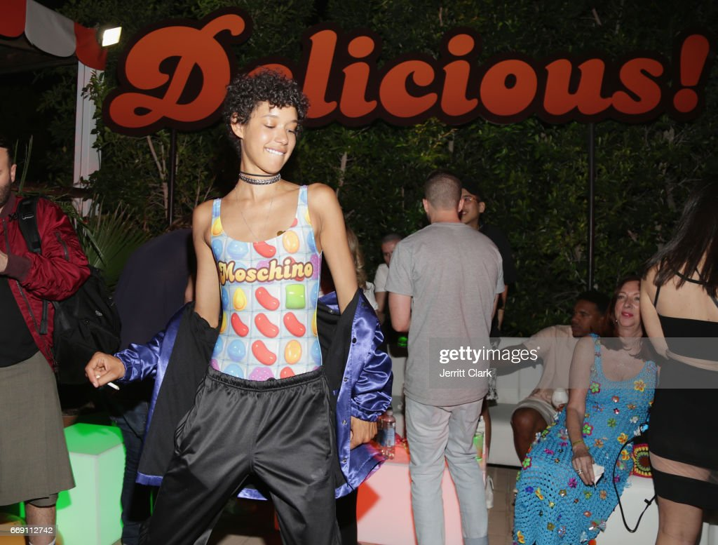 Dilone attends the Moschino Candy Crush Desert Party hosted by Jeremy Scott on April 15, 2017 in Coachella, California.