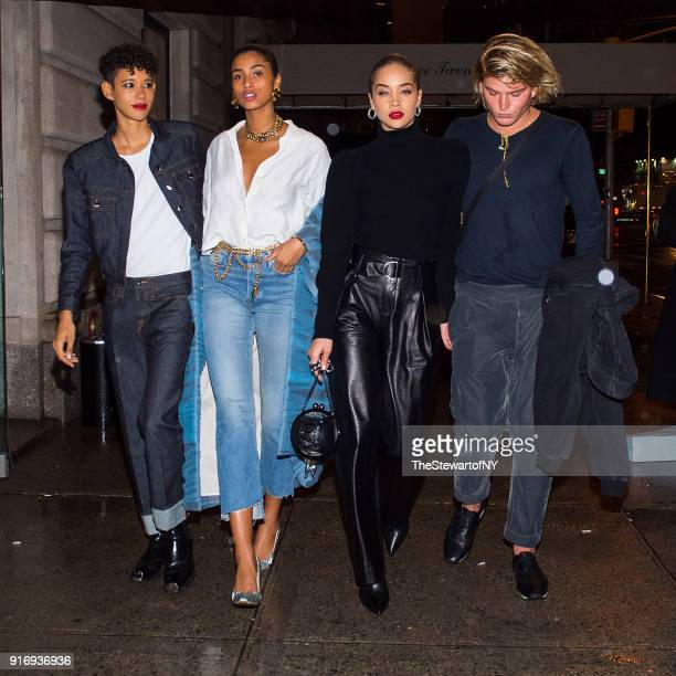 Dilone Imaan Hammam Jasmine Sanders and Jordan Barrett are seen in Midtown on February 10 2018 in New York City