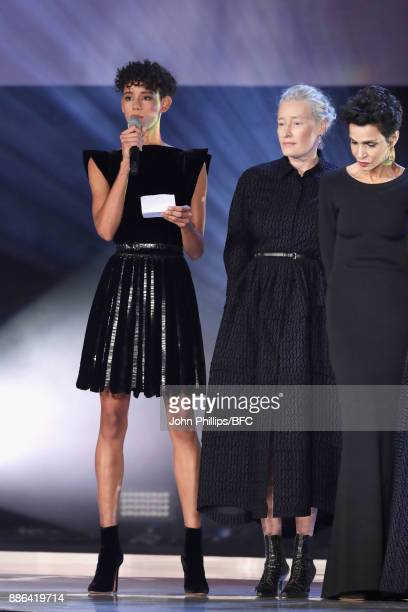 Dilone Marie Sophie Wilson and Farida Khelfa on stage during The Fashion Awards 2017 in partnership with Swarovski at Royal Albert Hall on December 4...