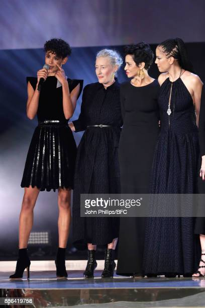 Dilone Marie Sophie Wilson Farida Khelfa and Veronica Webb on stage during The Fashion Awards 2017 in partnership with Swarovski at Royal Albert Hall...