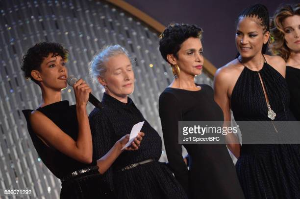 Dilone Marie Sophie Wilson Farida Khelfa Veronica Webb and Stephanie Seymour on stage during The Fashion Awards 2017 in partnership with Swarovski at...