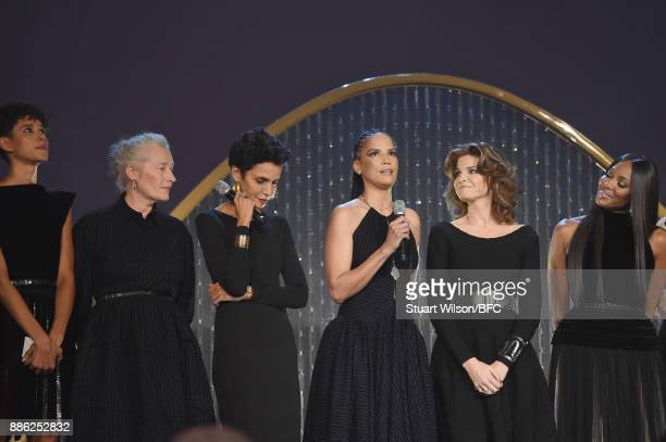 Dilone Marie Sophie Wilson Farida Khelfa Veronica Webb Stephanie Seymour and Naomi Campbell on stage during The Fashion Awards 2017 in partnership...