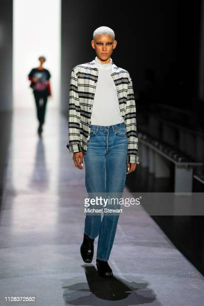 Dilone prepares before the Jeremy Scott fashion show during New York Fashion Week The Shows at Gallery I at Spring Studios on February 08 2019 in New...