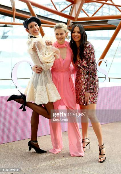 Dilone, Victoria Lee and Jessica Gomes pose at the David Jones SS19 Season Preview at the Sydney Opera House on August 08, 2019 in Sydney, Australia.