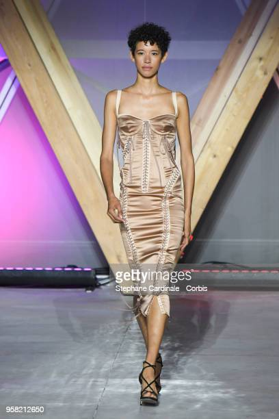 Dilone walks the runway at Fashion For Relief Cannes 2018 during the 71st annual Cannes Film Festival at Aeroport Cannes Mandelieu on May 13 2018 in...