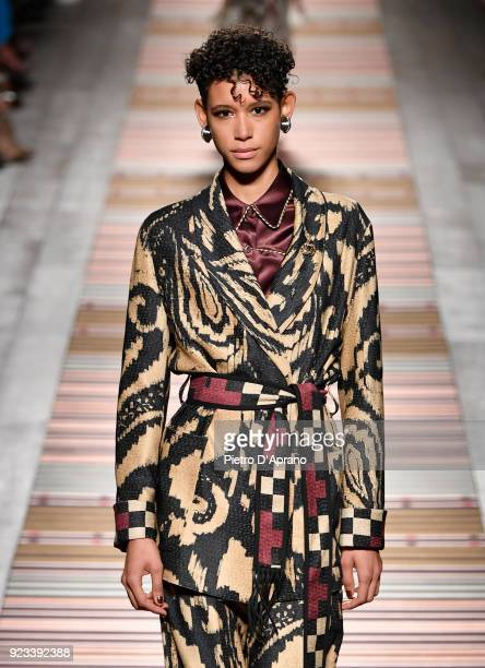 Dilone walks the runway at the Etro show during Milan Fashion Week Fall/Winter 2018/19 on February 23 2018 in Milan Italy