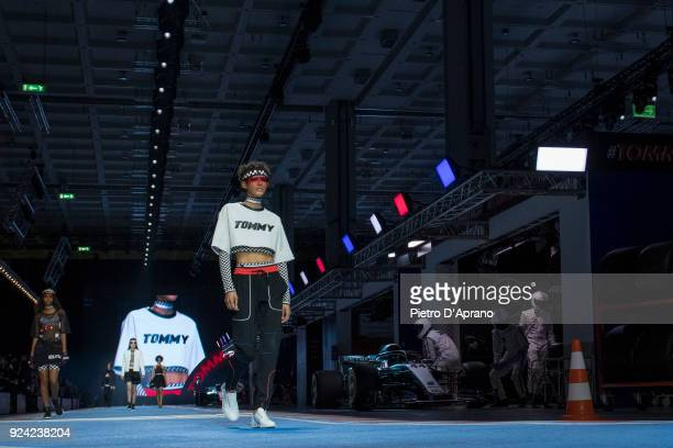 Dilone walks the runway at the Tommy Hilfiger show during Milan Fashion Week Fall/Winter 2018/19 on February 25 2018 in Milan Italy