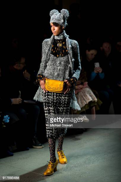 Dilone walks the runway during the Anna Sui fashion show during New York Fashion Week at Gallery I at Spring Studios on February 12 2018 in New York...