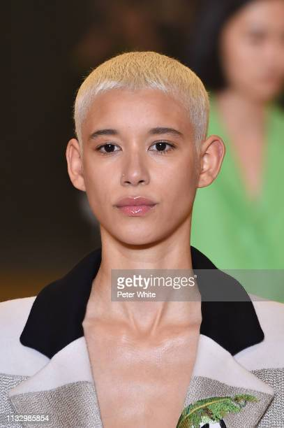 Dilone walks the runway during the OffWhite show as part of the Paris Fashion Week Womenswear Fall/Winter 2019/2020 on February 28 2019 in Paris...