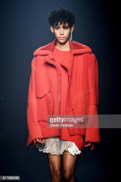 Dilone walks the runway for Zadig Voltaire show during New York Fashion Week at Cedar Lake Studios on February 12 2018 in New York City