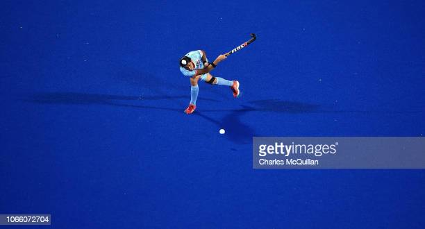 Dilpreet Singh of India passes the ball during the FIH Men's Hockey World Cup Pool C match between India and South Africa at Kalinga Stadium on...