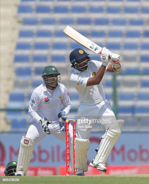 Dilruwan Perera of Sri Lanka bats during Day Two of the First Test between Pakistan and Sri Lanka at Sheikh Zayed Stadium on September 29 2017 in Abu...