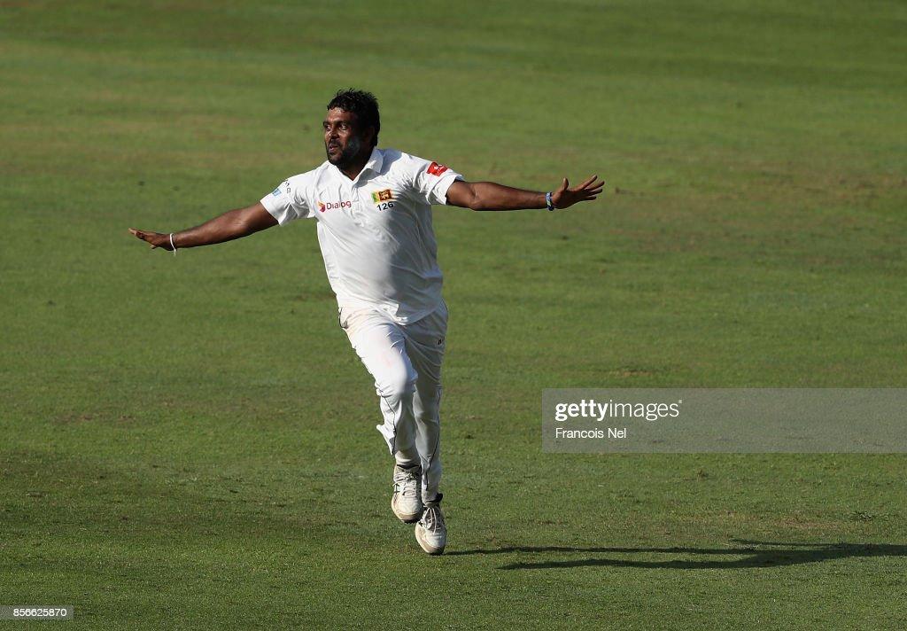 Dilruwan Perera of Sri Lanka celebrates during Day Five of the First Test between Pakistan and Sri Lanka at Sheikh Zayed stadium on October 2, 2017 in Abu Dhabi, United Arab Emirates.
