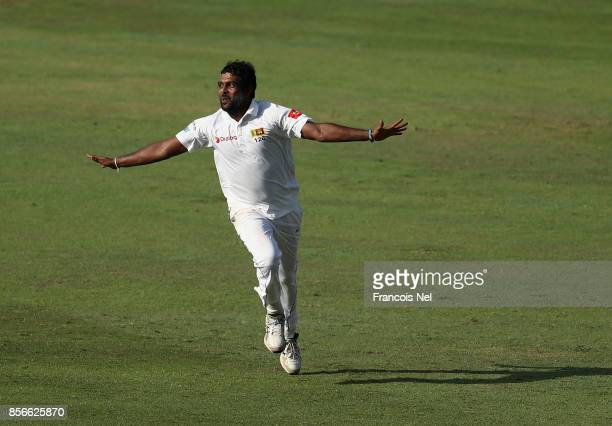 Dilruwan Perera of Sri Lanka celebrates during Day Five of the First Test between Pakistan and Sri Lanka at Sheikh Zayed stadium on October 2 2017 in...