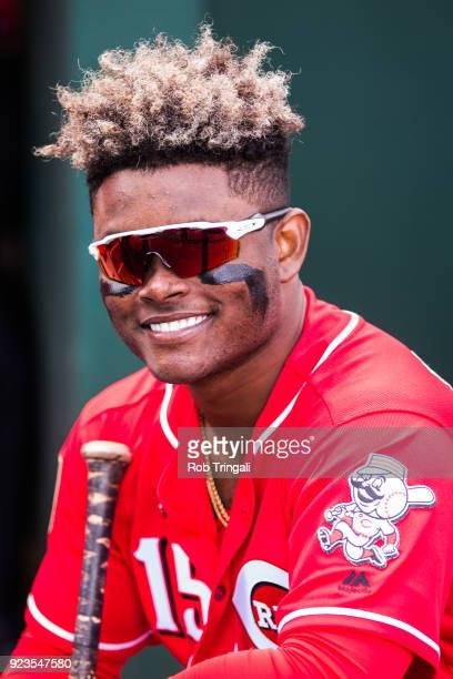 Dilson Herera of the Cincinnati Reds looks on against the Cleveland Indians during a Spring Training Game at Goodyear Ballpark on February 23 2018 in...