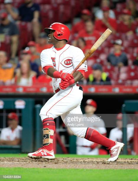 Dilson Herrera of the Cincinnati Reds hits a two RBI home run in the 5th inning against the Kansas City Royals at Great American Ball Park on...