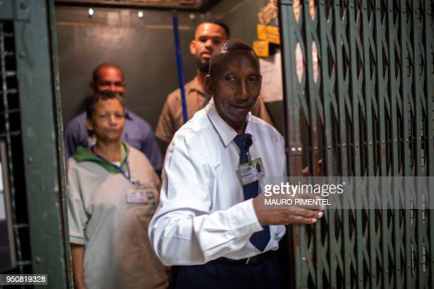 Dilson Lopes Santana elevator attendant operates a cargo lift at the Bank of Brazil Cultural Centre in downtown Rio de Janeiro Brazil on April 18...