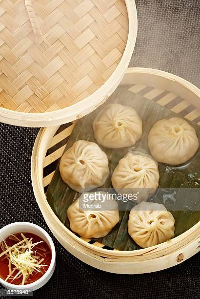 Dim sum dumplings with steam