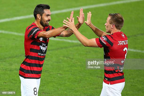 Dimas Delgado of the Wanderers celebrates a goal during the FFA Cup Round of 16 match between Palm Beach Sharks and Western Sydney Wanderers at Cbus...