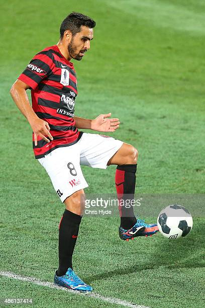 Dimas Delgado of the Wanderers kicks during the FFA Cup Round of 16 match between Palm Beach Sharks and Western Sydney Wanderers at Cbus Super...