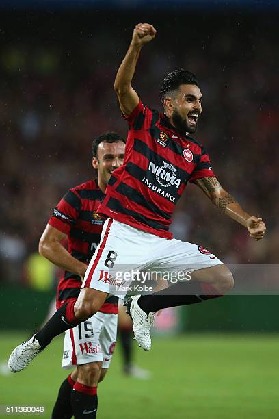 Dimas of the Wanderers celebrates Dario Vidosic scoring a goal during the round 20 ALeague match between Sydney FC and the Western Sydney Wanderers...