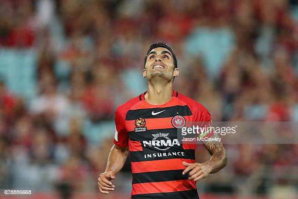 Dimas of the Wanderers reacts during the round 10 ALeague match between the Western Sydney Wanderers and the Melbourne Victory at ANZ Stadium on...
