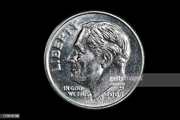 dime on black background xxl - dime stock pictures, royalty-free photos & images