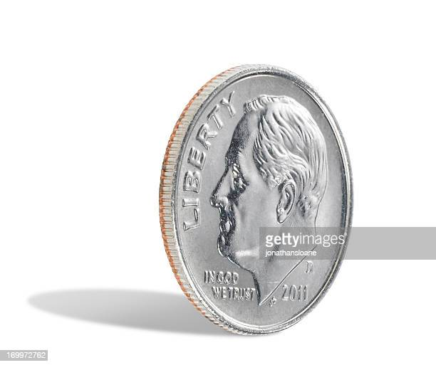 US dime on white background