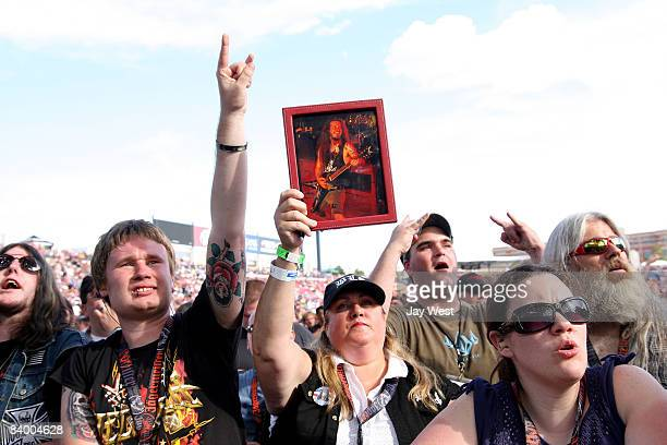 Dimebag Darrell fans watch a very special All Star Tribute to Dimebag Darrell Abbott at Ozzfest 2008 at the Pizza Hut Park on August 9 2008 in Frisco...