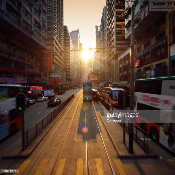 Dimensional City Traffic at Sunset, Hong Kong