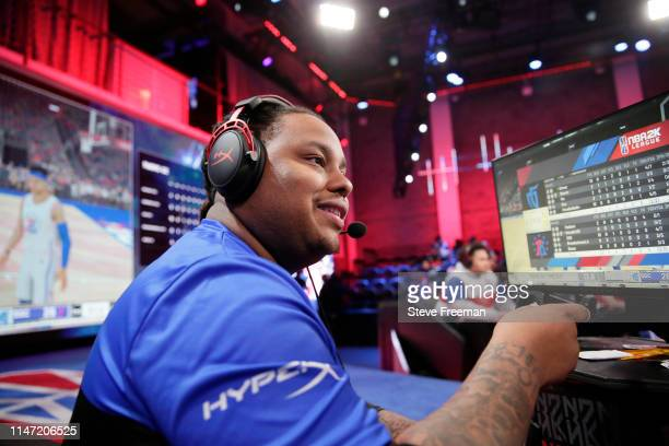Dimez of Mavs Gaming reacts during the match against the 76ers Gaming Camp during Week 7 of the NBA 2K League regular season on May 31 2019 at the...