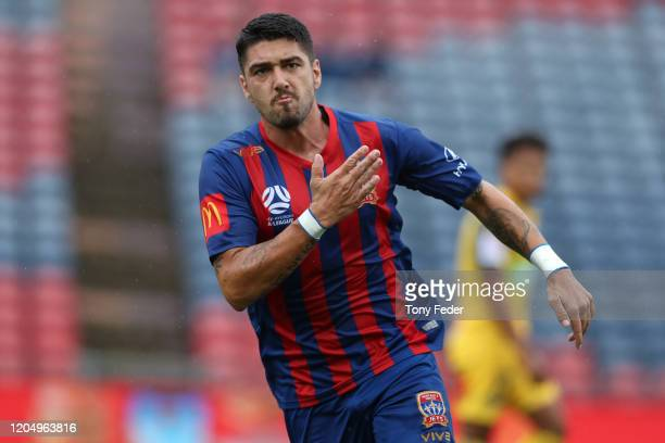 Dimi Petratos of the Newcastle Jets celebrates a goal during the round 18 A-League match between the Newcastle Jets and the Central Coast Mariners at...