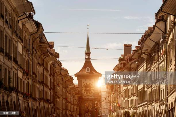 Diminishing perspective of buildings in street, Bern, Switzerland, Europe