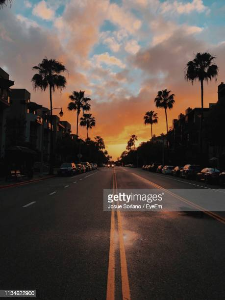 diminishing perspective of road amidst trees against cloudy sky at sunset - de stad los angeles stockfoto's en -beelden