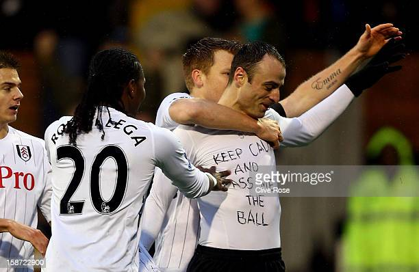 Dimitar Berbatov of Fulham celebrates his goal during the Barclays Premier League match between Fulham and Southampton at Craven Cottage on December...