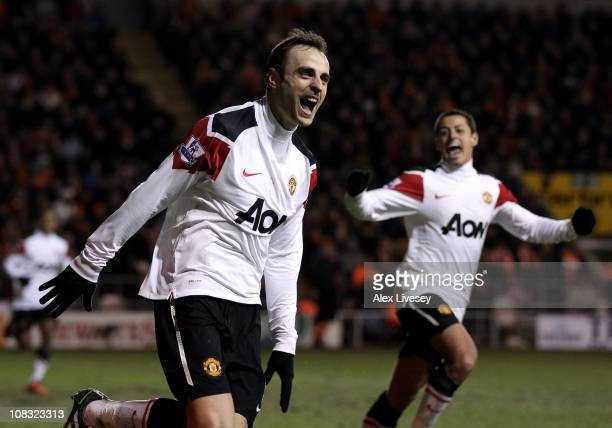 Dimitar Berbatov of Manchester United celebrates scoring his team's third goal during the Barclays Premier League match between Blackpool and...