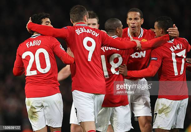 Dimitar Berbatov of Manchester United celebrates scoring their first goal during the UEFA Champions League Group C match between Manchester United...