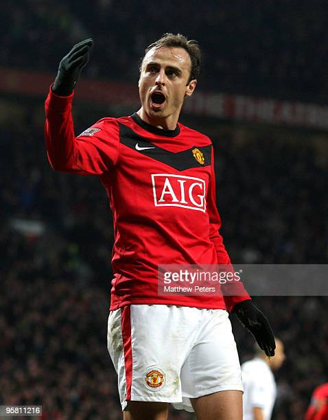 Dimitar Berbatov of Manchester United celebrates scoring their first goal during the FA Barclays Premier League match between Manchester United and...