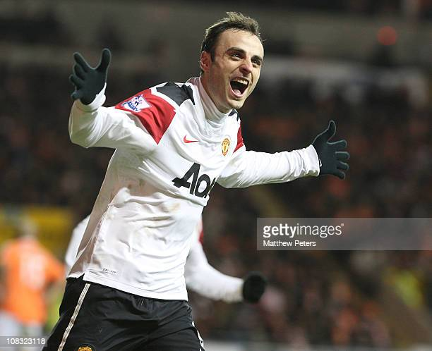 Dimitar Berbatov of Manchester United celebrates scoring their third goal during the Barclays Premier League match between Blackpool and Manchester...