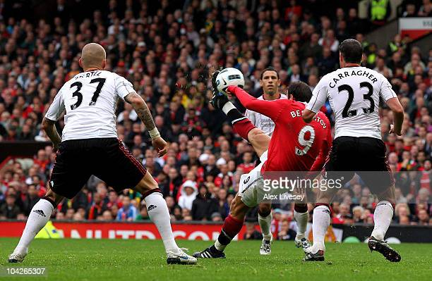 Dimitar Berbatov of Manchester United scores his team's second goal during the Barclays Premier League match between Manchester United and Liverpool...