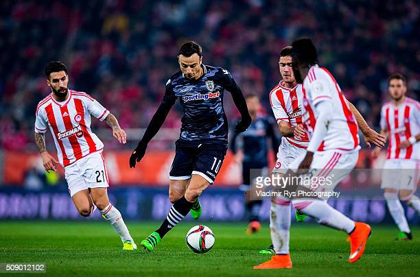 Dimitar Berbatov of PAOK attacks during the Superleague Greece match between Olympiacos Piraeus and PAOK at Karaiskaki stadium on February 7 2016 in...
