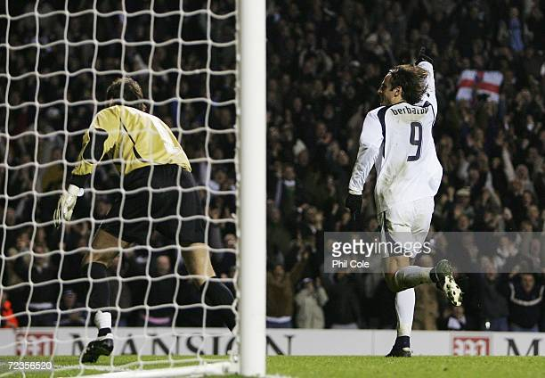 Dimitar Berbatov of Tottenham Hotspur celebrates after he scores his sides third goal during the UEFA Cup Group B match between Tottenham Hotspur and...