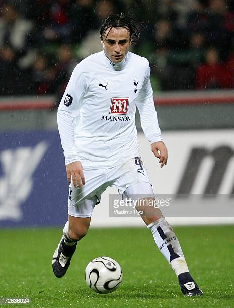 Dimitar Berbatov of Tottenham in action during the UEFA Cup Group B match between Bayer Leverkusen and Tottenham Hotspur at the BayArena on November...