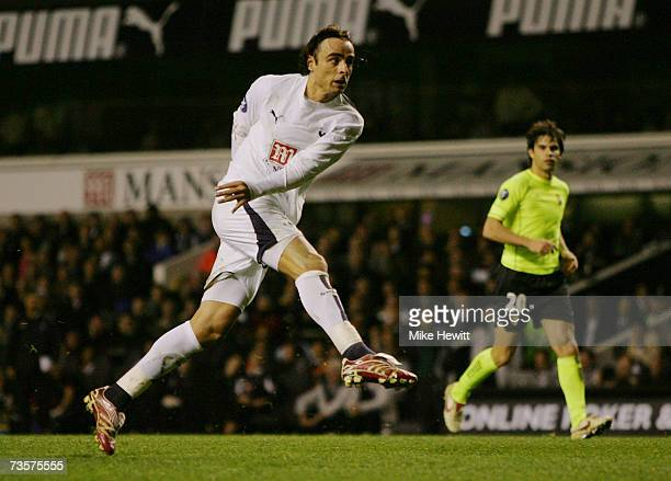 Dimitar Berbatov of Tottenham scores his team's second goal during the UEFA Cup Round of 16 second leg match between Tottenham Hotspur and Braga at...