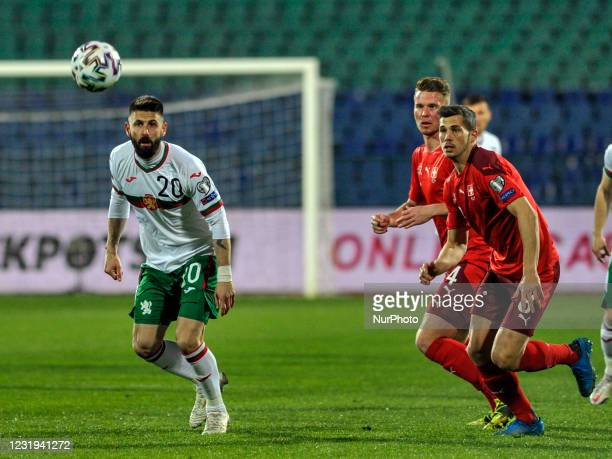 Dimitar Iliev of Bulgaria, Nico Elvedi and Remo Freuler of Switzerland chasing the ball during the FIFA World Cup 2022 Qatar qualifying match between...